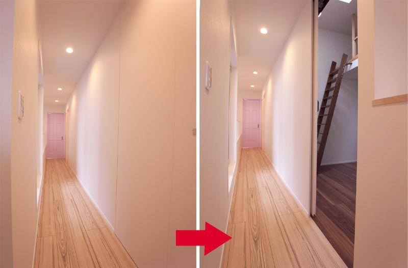 ネーミングの由来でもある、2階廊下の隠し扉。突如として出現する部屋のビックり!!