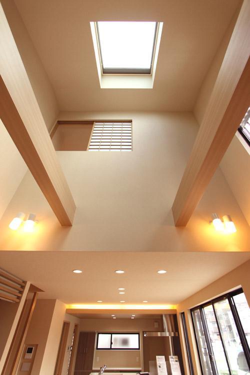 敷地の形状から南の採光が取れないので、吹抜けの上部に天窓を設けました。